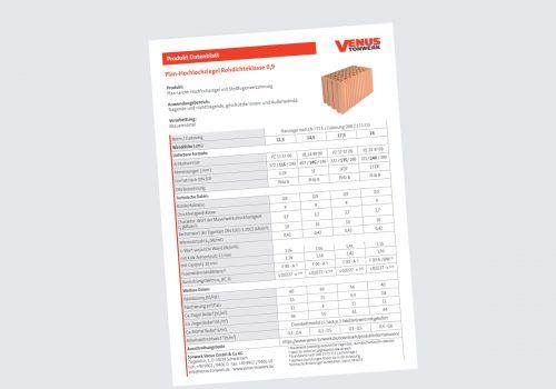 Titelbild Datenblatt Plan-Hochlochziegel Rd 0,9