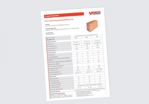 Titelbild Datenblatt Plan-Hochlochziegel Rd 1,4